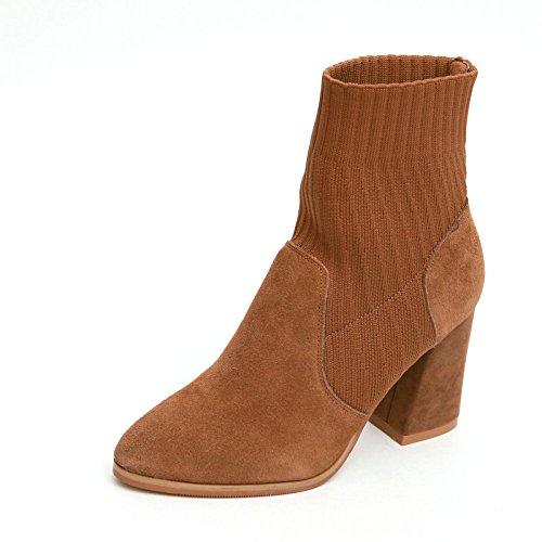 KHSKX-Martin Winter Leather Boots With Thick Pointed Knitting Boots Female Boots Sleeve Simple Solid Socks Caramel color