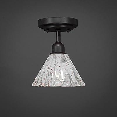 "Toltec Lighting 280-DG-7195 Vintage 1 Bulb Semi-Flush with 7"" Italian Ice Glass, Dark Granite Finish"