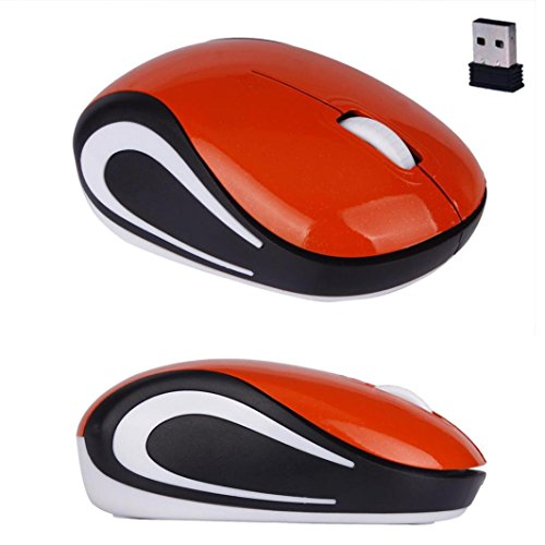 Portable Perman Cute Mini 2.4GHz Wireless 3 Buttons Optical Mouse Mice with USB Receiver for Computer PC Laptop Notebook Orange (Mini Pc Button Mouse Optical)