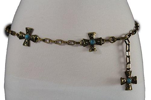 Antique Cross Belt (TFJ Women Fashion Belt Antique Gold Metal Chain Hip Waist Turquoise Blue Cross S M L)
