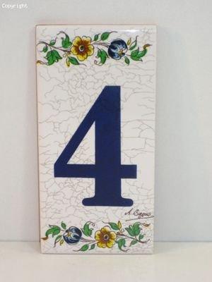 Vente a lunit/é Num/éro 4 Num/éro de Porte Peint sur Une c/éramique rectangulaire Blanche d/écor/ée dun Ruban Floral Motif Moustiers