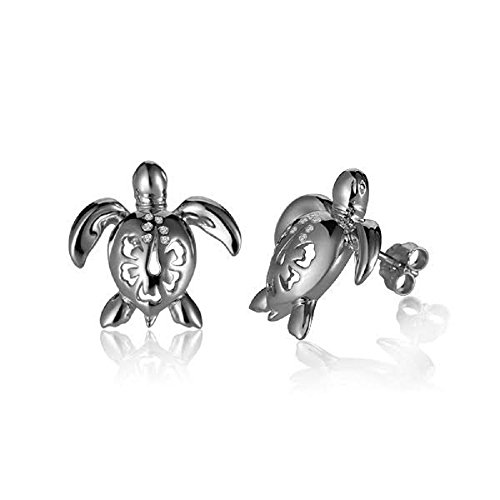- Sterling Silver Turtle with Cubic Zirconia and Hibiscus Stud Earrings