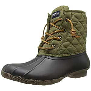 Sperry Top-Sider Women's Saltwater Quilted Nylon Rain Boot, Brown/Olive, 5 M US