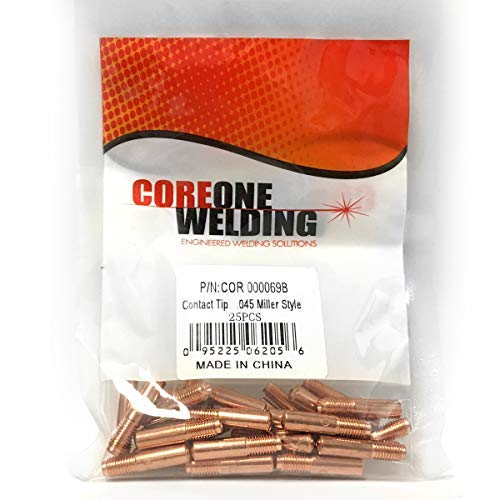 25 PACK CONTACT TIP MILLER STYLE .045 MODEL 000069B FOR PROFESSIONAL MIG WELDING.