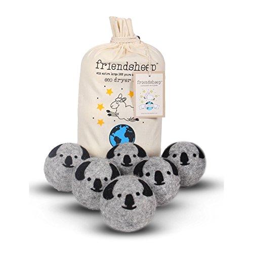 Friendsheep Organic Eco Wool Dryer Balls - Grey Koala - 6 Pack - 100% Handmade, Fair Trade, Organic, No Lint - Premium Quality Koala Crew