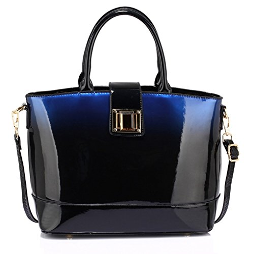 Style Handbag Quality Faux TWO CWS00329 NAVY Fashion Ladies Celebrity TONE PATENT BAG Leather Tote Women's Designer Bags Bag Quality qtFxvPnw