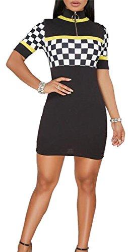 Short Checkerboard Dress Cromoncent Driver Race Sleeve Hip Car Vogue Black Womens Pencil Clubs Package UW7UBr