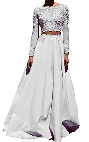 2 Piece Satin Dress (Lisa Long Sleeve Lace Prom Dress Satin Two Piece Evening Party Gown LS122)