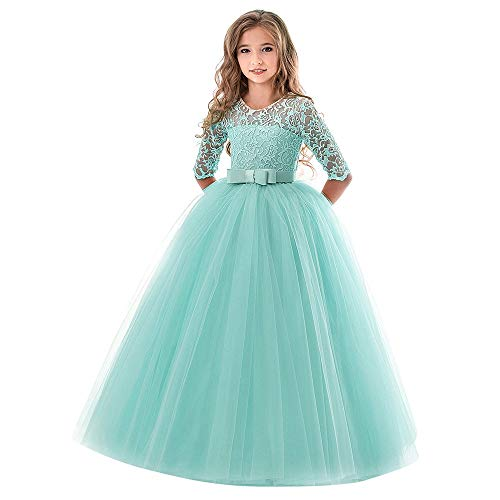 Little Big Girls Dresses Tutu Tulle Illusion Sleeves Bow Tie Back Princess Pageant Skirt Outfit Clothes 4-9 Years (5-6 Years, Green)