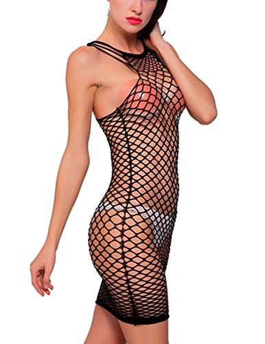 Bodystocking Fishnet V-neck - Vorifun Women Fishnet Lingerie See Through Sleepwear One Piece V-Neck Babydoll Mini Dress One Size (Black 7)