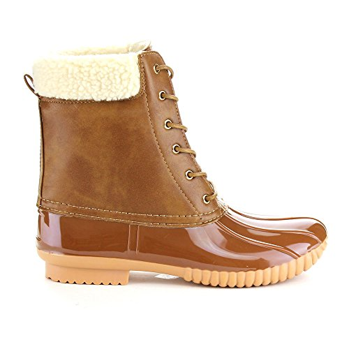 Duck Boots Lace Kyla Faux 3 Fur Forever Womens Up Pull Fashion Waterproof Tan on Pxpzxqw7