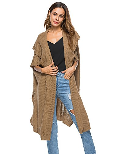 Shermie Womens Open Front Cardigan Sweaters Drape Chunky Textured Knit Long Trench Coat, Khaki, One Size