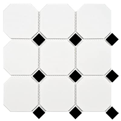"SomerTile FXLM4OWD Retro Super Octagon Porcelain Mosaic Floor and Wall Tile, 11.625"" x 11.625"", Matte White with Dot"