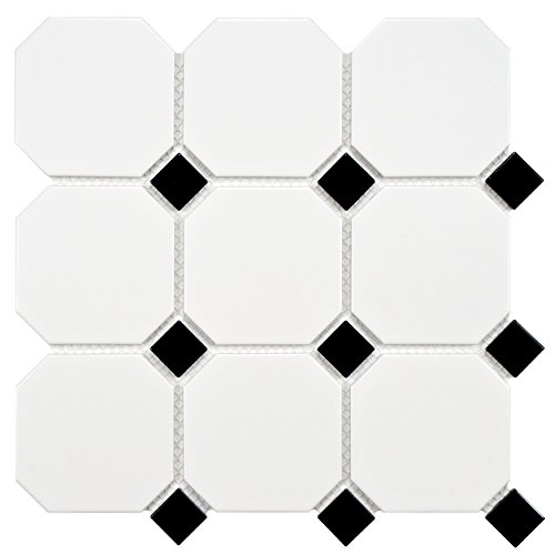 "well-wreapped SomerTile FXLMOWCB Retro Octagon Porcelain Floor and Wall Tile, 11.5"" x 11.5"", Matte White with Glossy Cobalt Dot"