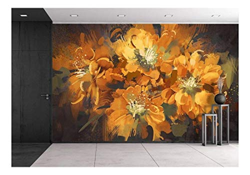 wall26 - Illustration - Digital Painting of Colorful Abstract Flowers with Grunge Texture,Illustration - Removable Wall Mural | Self-adhesive Large Wallpaper - 66x96 ()