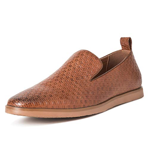 Mens Queensbery Kingsley Work Leather Summer Flat Slip On Weave Shoes - Tan - EU44/US11 - - Shoe Woven Loafer Leather