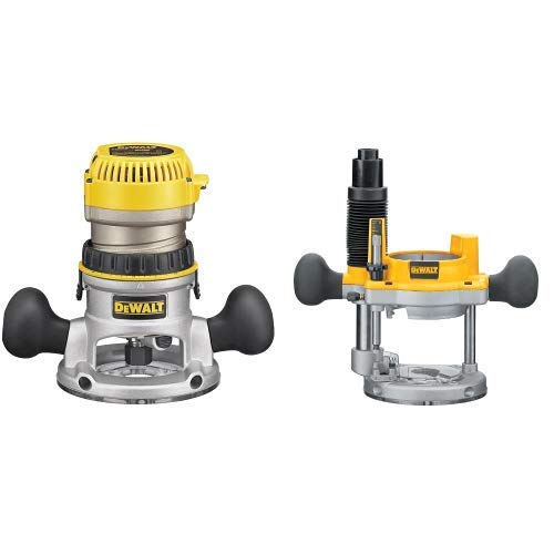 DEWALT DW618K 2-1 4 HP Electronic Variable Speed Fixed Base Router with So Start Kit with DW6182 Plunge Base