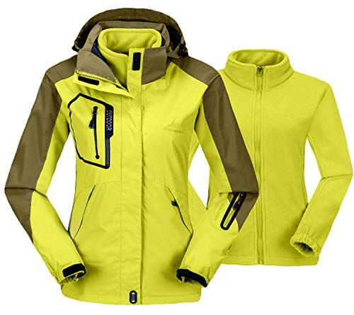 TBMPOY Women's Water Resistant Detachable System Jacket Fleece Liner Windbreaker Raincoat(01 Yellow,us L)