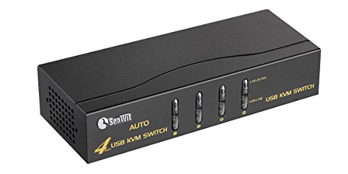 Sea Wit VGA KVM Switch,4 Port VGA Switch Video Switcher Box with USB HUB Port Supports 1920X1440 Resolution Audio and Mic -4 in 1 out