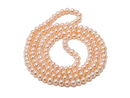 """JYX Pearl Long Strand Necklace Classical 6-7mm Pink Pearl Necklace Long Sweater Chain 30"""""""