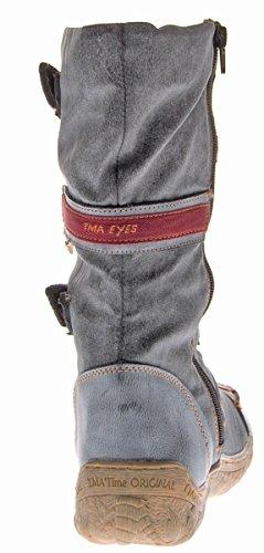 Leder Damen Stiefel TMA Schuhe Gefüttert Winter Comfort 14411 Boots Grau 4UpWF5qw