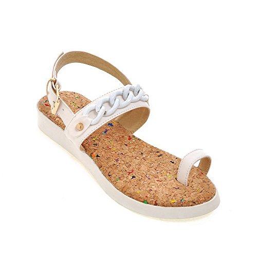 Amoonyfashion Kvinnor Fasta Mjuka Material Låg-klackar Spänne Öppna Sandaletter Vit