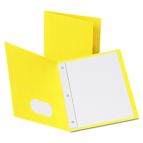 Oxford Twin Pocket Folders with Fasteners, Letter Size, Yellow, 25 per Box (3 Letter Pockets)