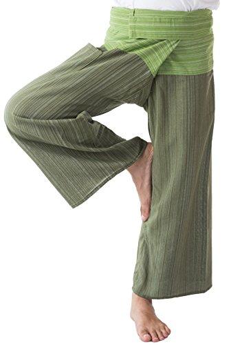 Thai Fisherman Pants Men's Yoga Trousers Dark Green and Green 2 Tone Pant Review