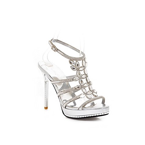 AllhqFashion Women's Solid Open Toe PU High-Heels Buckle Sandals Silver aDR9nKQ8m0