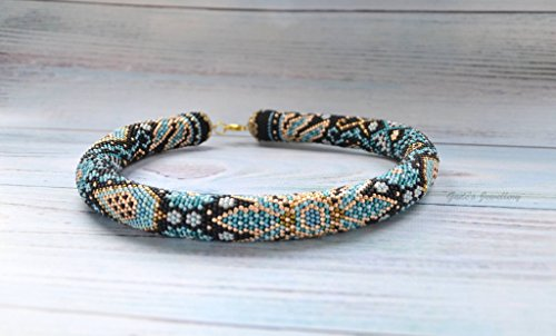 Crochet rope beaded choker necklace Lagoone