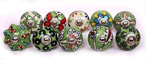 Glitknob 10 Knobs Green & White Hand Painted Ceramic Knobs Cabinet Drawer Pull