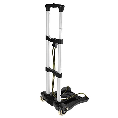 Creine Aluminum Folding Luggage Cart Portable Hand Truck with 2 Wheels, Compact and Lightweight for Shopping Travel Black by Creine (Image #1)