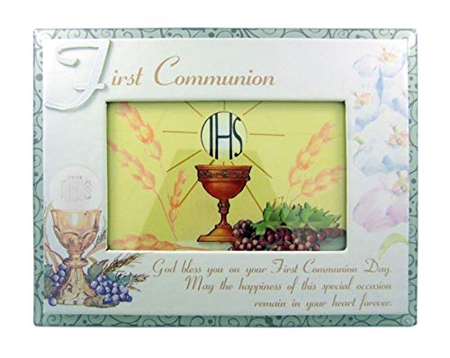 (First Communion Religious Glass Overlay Picture Frame, 4 x 6 Inch )