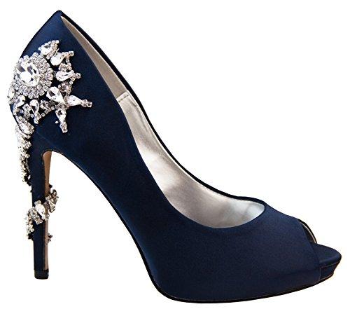 Mujer Sabatine Satén Diamante Tacones Altos 11.5cm Zapatos de la Boda Marino