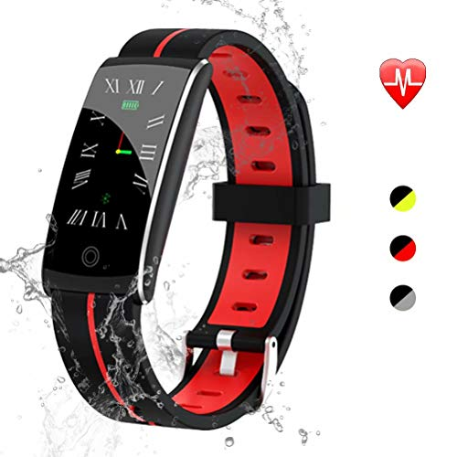 maxtop Fitness Tracker Waterproof - Color Screen Display, Magnetic Suction Charging, 14 Functions Fitness Tracker for Kids, Women and Men Red