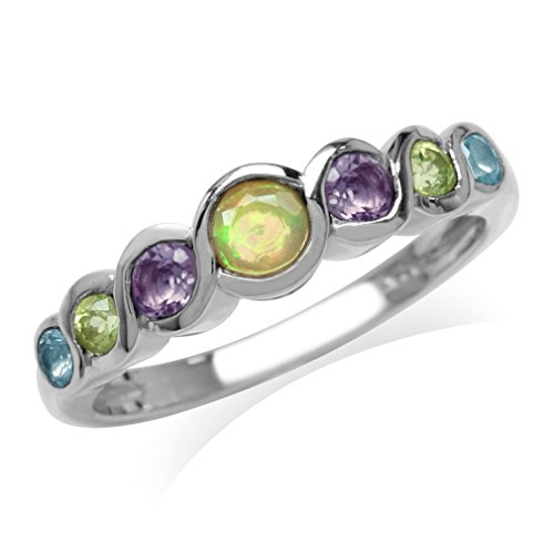 Genuine Opal, Amethyst, Peridot&Swiss Blue Topaz White Gold Plated 925 Sterling Silver Journey Ring Size 7 ()