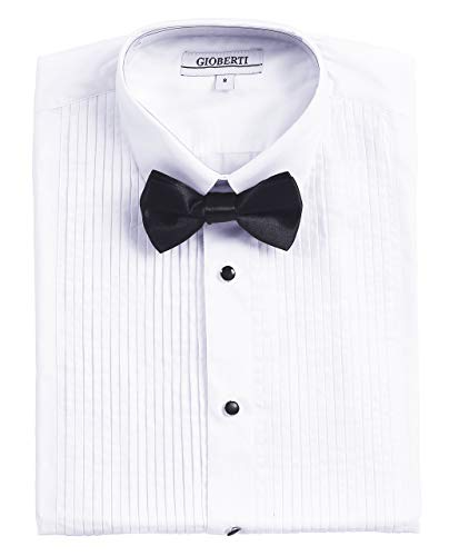 Gioberti Boy's White Tuxedo Dress Shirt, with Bow Tie and Metal Studs, White, Size 16