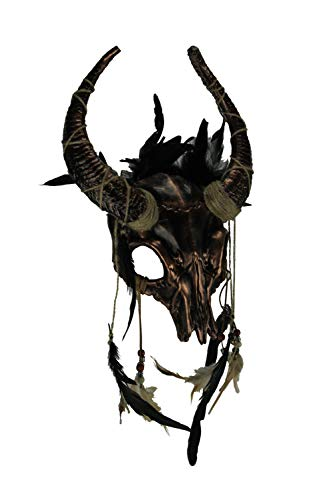 Metallic Tribal Skull Horned Demon with Feathers Adult Halloween Mask, Copper -