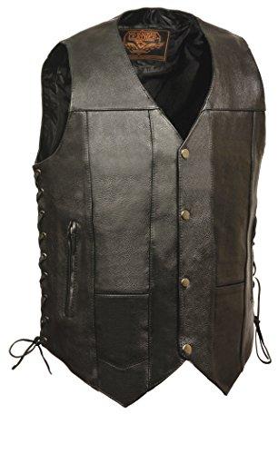 Milwaukee Leather Men's 10 Pocket Side Lace Vest w/Dual Inside Concealed Weapon Gun Pockets (46)
