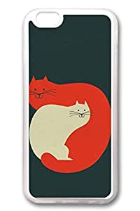 iPhone 6 Cases, Personalized Protective Soft Rubber TPU Clear Case Cover for New iPhone 6 4.7 inch White Red Cats