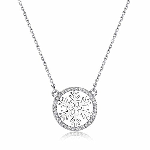 (It's a circle Rhodium Plated Sterling Silver Round Snowflake Pendant Necklace Cubic Zirconia CZ)