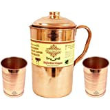 Indian Art Villa Handmade Copper Pitcher/Jug | 40 US Fluid Ounce Healthy Combo | with Set of 2 Copper Glass Tumbler/Cups | 10 Fluid Ounce