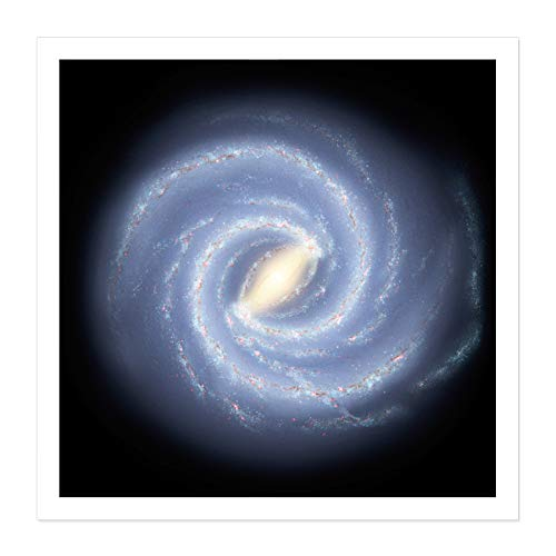 Space NASA Milky Way Galaxy Map Stars Illustration Square Wooden Framed Wall Art Print Picture 16X16 Inch