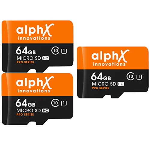 5 Piece Bundle – AlphX 64gb [3 Cards] Micro SD High Speed Class 10 Memory Cards for Samsung Galaxy S9, S9+, S8, Note 8, S7, S5, S4 with Bonus Adapter and Sandisk Micro SD Card Reader