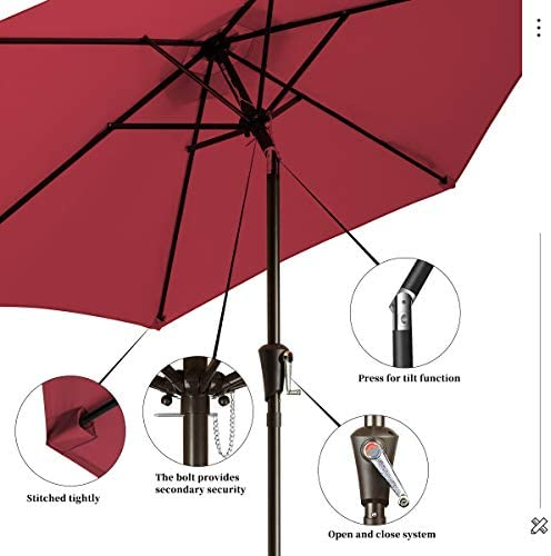 KITADIN Patio Umbrella Outdoor Market Table Umbrellas with Push Button Tilt and Crank Lift,6 Ribs 7.5 Ft, Red