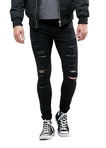 Men's Super Skinny Fit Slim Denim Jeans with Rips Distressing Black Pants 28