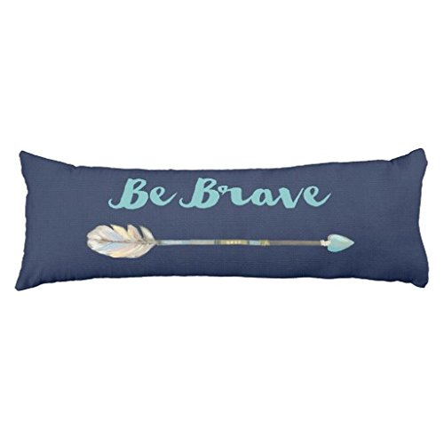 - Long Cushion Case Blue Burlap Effect Be Brave Arrow Body Pillow Cover 20 x 54 inch About 50 x 137cm