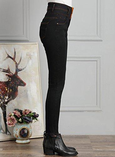 Sentao Molleton Pantalon Haute Pantalon Vintage Grande Noir double Chaud Femmes Jambires Jeans Leggings Taille Taille Crayon w87wrtqC