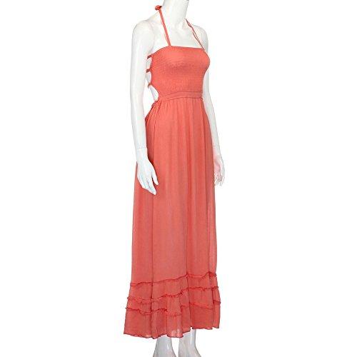 Fanyunhan Womens Ladies Summer Halter Neck Long Dress Bohemian Strappy Backless Maxi Dress Beach Evening Party Sling Sundress Orange by Fanyunhan Dress (Image #3)