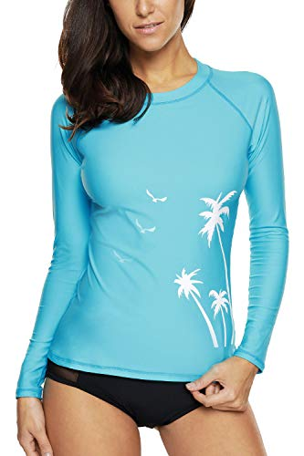 Charmo Women's Long Sleeve Swimsuit Rash Guard Shirts Water Shirt Blue ()